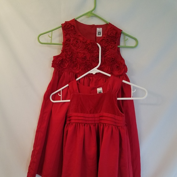 carters girls red christmas dresses size 5 6 - Red Christmas Dresses